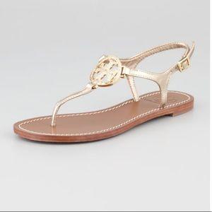 Tory Burch Miller Logo Gold Violet Sandals 7.5